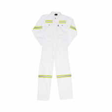 J54 White Boiler Suit with Reflective
